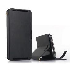Черный чехол книжка из натуральной кожи для Lenovo S930