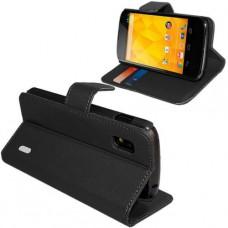 Черный кожаный чехол книжка для LG Nexus 4