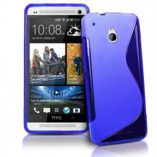 Синий силиконовый чехол для HTC One mini