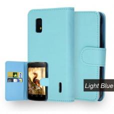 Голубой кожаный чехол книжка для LG Nexus 4
