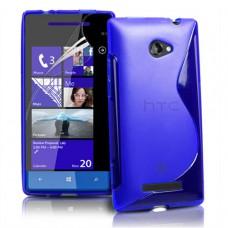 Синий силиконовый чехол для HTC 8s