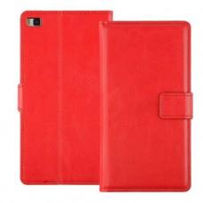 Красный чехол книжка для Huawei P8 Lite