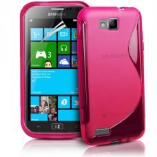 Розовый силиконовый чехол для Samsung Ativ S