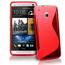 Красный силиконовый чехол для HTC One mini