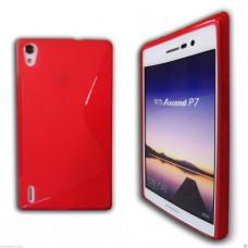 Красный силиконовый чехол для Huawei Ascend P7