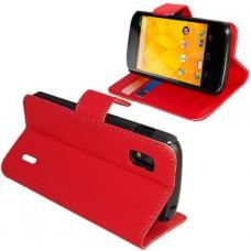 Красный кожаный чехол книжка для LG Nexus 4