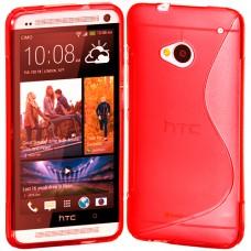 Красный силиконовый чехол для HTC One (M7)