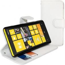 Белый кожаный чехол горизонтальная книжка для Nokia Lumia 820