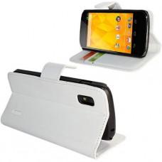 Белый кожаный чехол книжка для LG Nexus4